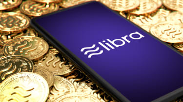 The Facebook Libra logo displayed on a smartphone