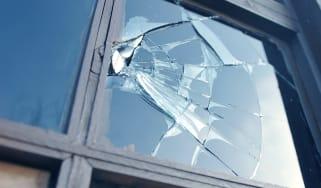 A broken window pane