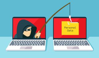 Graphic representing phishing with a hacker stealing data from one computer to anotheri