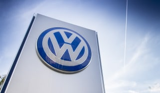 Volkswagen logo on a sign