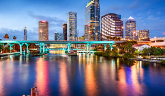 The view of the Tampa, Florida skyline as seen from the Bay
