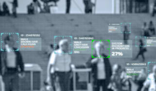 A piece of facial recognition software analysing a crowd