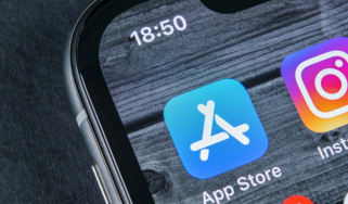 Apple App Store logo on an iPhone display