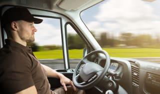 Truck driver in a self-driving truck