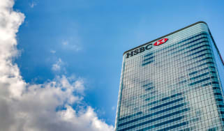 HSBC logo on skyscraper with view from below