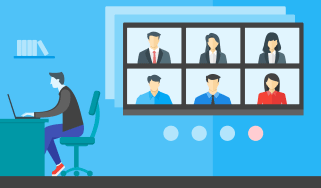 Cartoon image of a worker joining a video conference