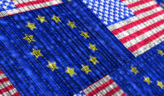 Abstract image showing EU and US flags tiled together