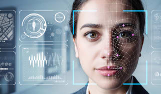 The facial profile of a woman being analysed by facial recognition technology