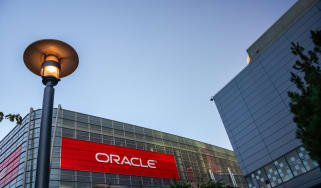 Oracle logo on the side of a building