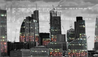 Abstract image of London's skyline with glitch effects overlayed