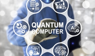 Quantum computing on a screen with a man's had