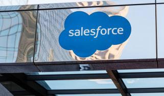 Salesforce logo on a mirror