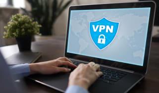 VPN software displayed on a laptop