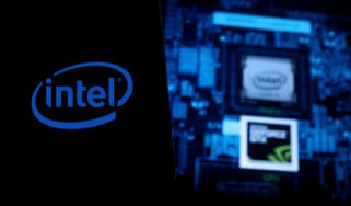 The Intel logo on a black background next to Intel components