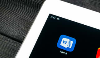 Microsoft Word app icon on Apple iPad Pro screen close-up
