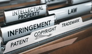 Folders showing key terms related to intellectual property theft and copyright