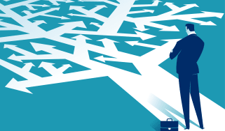 Graphic illustration of a businessman standing on an image of a tree, whose branches are formed from arrows.