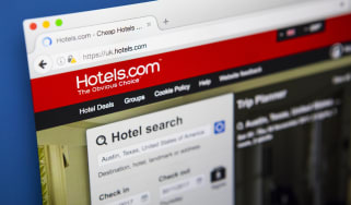 The homepage of the official website for Hotels.com, a site for booking hotel rooms online,