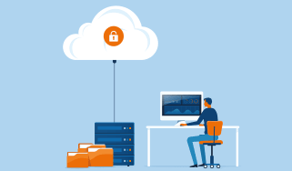 An illustration of a man sitting at a desk using a computer, with his local files being backed up to a server and the cloud
