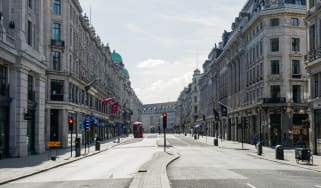 London's Regent Street completely empty during the pandemic