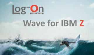"surfer riding a wave with ""log-on wave for IBM Z"" superimposed"