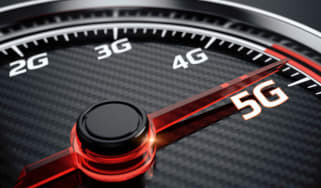 A speed-metre with 2G, 3G, 4G, and 5G symbols, pointing at 5G
