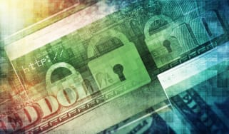 Padlocks on a dollar to represent the cost of cyber crime