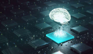 A digital brain above a chip to indicate AI