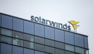 SolarWinds logo on the side of a building