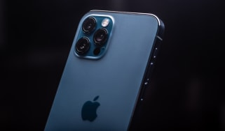A blue model of the iPhone 12