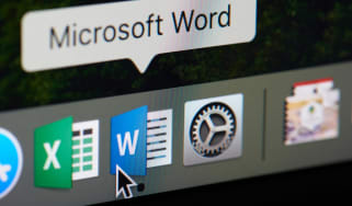 A mouse hovering over the Microsoft Word icon on macOS