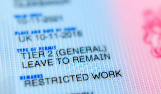 "A close up of a UK Tier 2 leave to remain visa, with a ""Restricted Work"" remark shown"