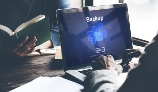 Backup data storage displayed on a laptop screen