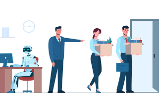 A cartoon of two workers holding cardboard boxes containing their possessions being shown the door by their boss having been made redundant by a robot worker, who now sits at their desk.