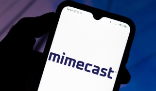 Mimecast logo seen displayed on a smartphone