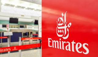 An Emirates airline check-in gate