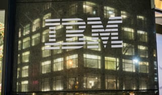 An IBM building at night