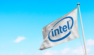 The Intel logo on a white flag