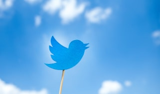 Paper cut Twitter icon on wooden stick on blue sky background