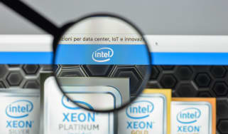 Intel logo on Xeon web page under a microscope