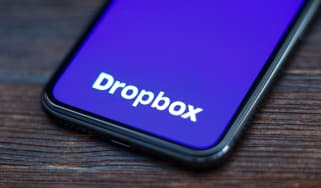 Dropbox logo displayed on a smartphone