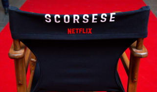 A directors chair with Scorsese and Netflix written upon it