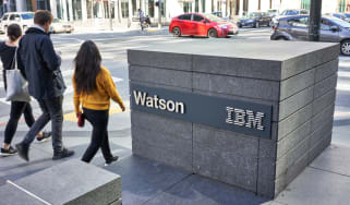 Watson and IBM on a block outside its San Francisco building
