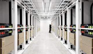 An engineer working on the Cambridge-1 supercomputer