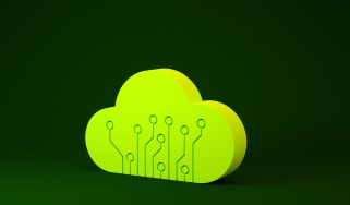 A 3D image of a light green cloud with circuit board pattern on a dark green background