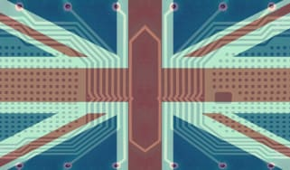 UK flag with a circuit pattern in the background