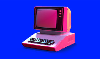 A pink retro-style computer on a blue background