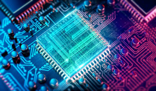 A CPU embedded in a circuit board