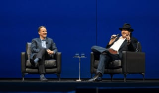 Adam Selipsky on stage with Salesforce CEO Mark Benioff