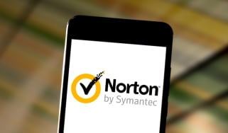 Norton antivirus logo displayed on a smartphone